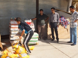 Loading up the purchased food and supplies