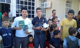 Bibles and New Testaments handed out